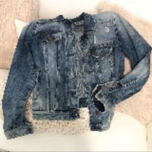 NEW EXPRESS JEANS DISTRESSED DENIM JACKET SMALL S